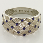 Beautiful Harlequin Pattern 14K White Gold Blue Enamel Vintage Fashion Band