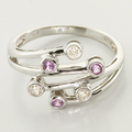 Beautiful Diamond and Pink Sapphire Fashion Ring 18K White Gold