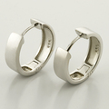 Lovely 14K White Gold Huggie Hoop Earrings