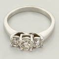 Magnificent Three Stone Diamond Engagement Ring 14K White Gold