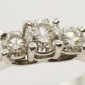 Magnificent Three Stone Diamond Engagement Ring 14K White Gold