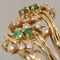 Ravishing Green Emerald Round Diamond 14K Yellow Gold Vintage Fashion Ring