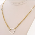 Lovely 14K Yellow and White Heart Gold Necklace
