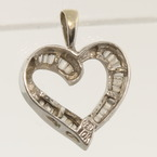 Lovely Vintage Estate 10K White Gold Baguette Diamond Heart Shape Pendant