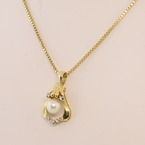 Magnificent Pearl Diamond 14K Yellow Gold Necklace