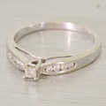 Stunning Solitaire Princess Cut Diamond 10K White Gold Vintage Engagement Ring