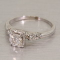 Magnificent Edwardian Diamond Engagement Ring 14K White Gold