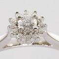 Sparkling Diamond Solitaire 14K White Gold Vintage Estate Engagement Ring