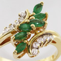 Amazing Emerald Diamond Fashion Ring 14K Yellow Gold