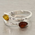Estate 925 Silver Amber Bypass Right Hand Ring Size 7