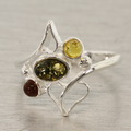 Estate 925 Silver Green Honey Cognac Amber Right Hand Ring Size 6.75