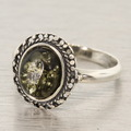 Estate 925 Silver Green Amber Right Hand Ring Size 6.5