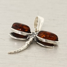 Modern Estate Amber 45MM Dragon Fly Pendant Jewelry