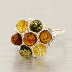 Estate 925 Silver Green Honey Cognac Amber Right Hand Ring Size 8