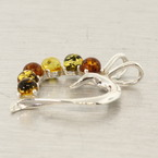 Modern Sterling Silver 925 Green Honey Cognac Amber Open Heart Slide Pendant - 45MM