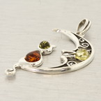 Estate Green Honey Cognac Amber 60MM Cat Moon Pendant Jewelry