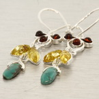 Classic Estate Amber Turquoise Bezel Set 50MM Drop Fish Hook Earrings