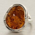 Estate 925 Silver Amber Right Hand Ring Size 6.5
