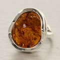 Estate 925 Silver Amber Right Hand Ring Size 7.5