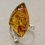 Estate 925 Silver Amber Right Hand Ring Size 8.5