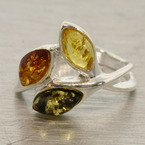 Estate 925 Silver Green Honey Cognac Amber Right Hand Ring Size 8.25