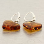 Vintage Estate Ladies Charming Heart Amber 35MM Drop French Back Earrings