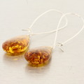 Vintage Estate Amber 80MM Tear Drop Fish Hook Earrings
