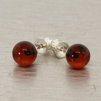 925 Sterling Silver Lovely Ladies Stud Amber Earrings