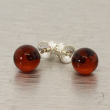 Vintage Estate 925 Sterling Silver Lovely Ladies Stud Amber Earrings