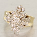 Magnificent Mountain of Diamonds Vintage Gold Ring