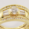 Gorgeous 14K Yellow Gold Brilliant White Diamond Wedding Set