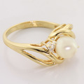 Lovely Pearl Diamond 14K Yellow Gold Fashion Ring
