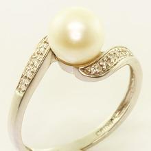 Vintage Estate 14K White Gold Pearl Diamond Ring Jewelry