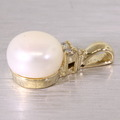 Dazzlign Ladies Vintage 14K Yellow Gold Pearl Round Diamond Drop Pendant