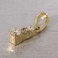 Stunning 14K Yellow Gold Diamond Three Diamond Drop Pendant