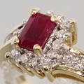 Lovely Ruby Diamond 14K Yellow Gold Fashion Ring