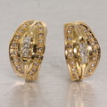 Marvelous Diamond 14K Yellow Gold French Clip Fashion Earrings