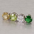 Dazzling 10K White Gold Synthetic  Diamond Peridot Emerald Citrine Pendan