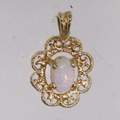 Beautiful Vintage Estate 14K Yellow Gold Opal Heirloom Pendant