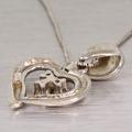 Lovely Heart Shape Diamond 14K White Gold Necklace