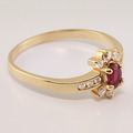 Charming Ruby Diamond 14K Yellow Gold Fashion Ring