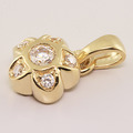 Lovely 14K Yellow Gold Cubic Zirconia Flower Pendant