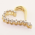 Fine Estate 10K Yellow Gold Natural Diamonds Heart Pendant