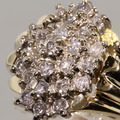 Spectacular Diamond Cluster 14K Yellow Gold Fashion Ring