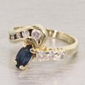 Fabulous Blue Sapphire Diamond 14K Yellow Gold Vintage Fashion Ring