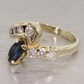Fabulous Blue Sapphire Diamond 14K Yellow Gold Vintage Fashion Ring