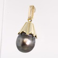 Lovely Baroque Peacock Color Tahitian Pearl 14K Yellow Gold Pendant