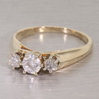 Vintage 14Kt Yellow Gold 3 Stone Diamond Ring