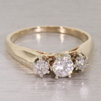 Vintage Womens 14K Yellow Gold Three Stone Diamond and Zirconia Anniversary Ring