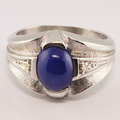 Striking Blue Star Sapphire Diamond Fashion White Gold Ring